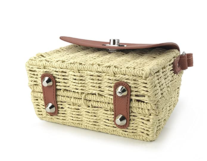 d38ad48278cf Vintage Straw Basket Case Cross Body Bag Womens Small Vacation Purse (Beige)   Handbags  Amazon.com