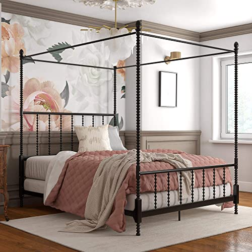 DHP Jenny Lind Metal Bed, 4 Post Queen Size Frame, Black Canopy