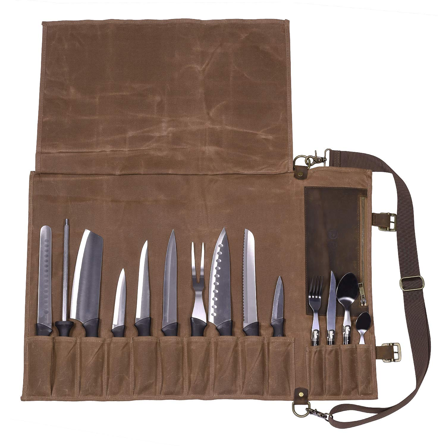 Chef Knife Roll Bag(10+4 Slots)/Durable Waxed Canvas Knife Carrier/Vintage Full-Grain Belt and Pocket/Professional Chef Shoulder Strap/Knives Not Included
