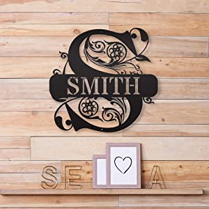 Custom Name Wall Decor - Steel Roots Decor - Split Monogrammed Gifts - Personalized Steel Decoration - Family Name Sign - Metal Letters Wall Decor - Rustic Home Decor - Perfect Indoor and Outdoor Use