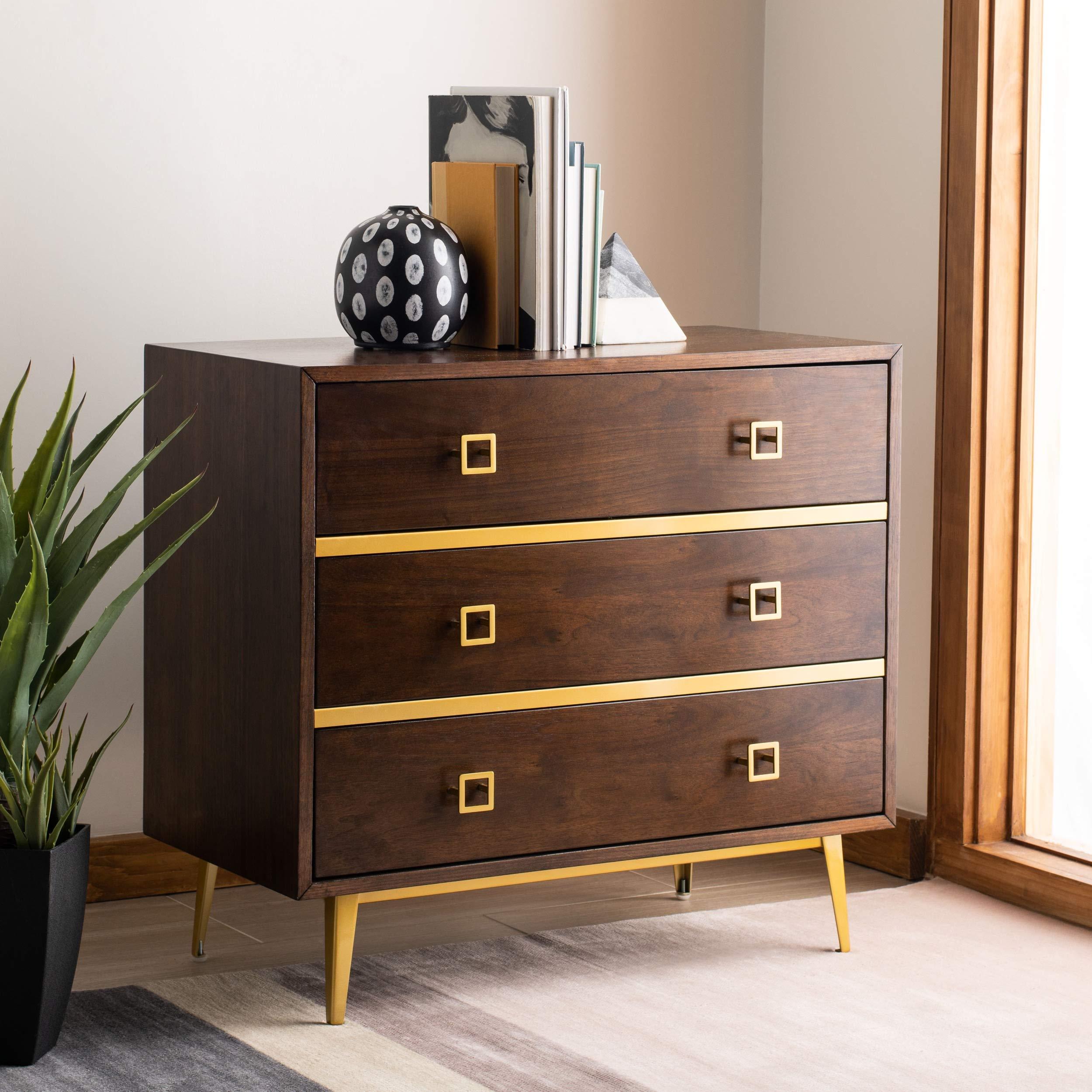 Safavieh Home Mid-Century Modern Katia Walnut and Gold 3-Drawer Chest, 31.9'' x 16'' x 29'', Brown by Safavieh