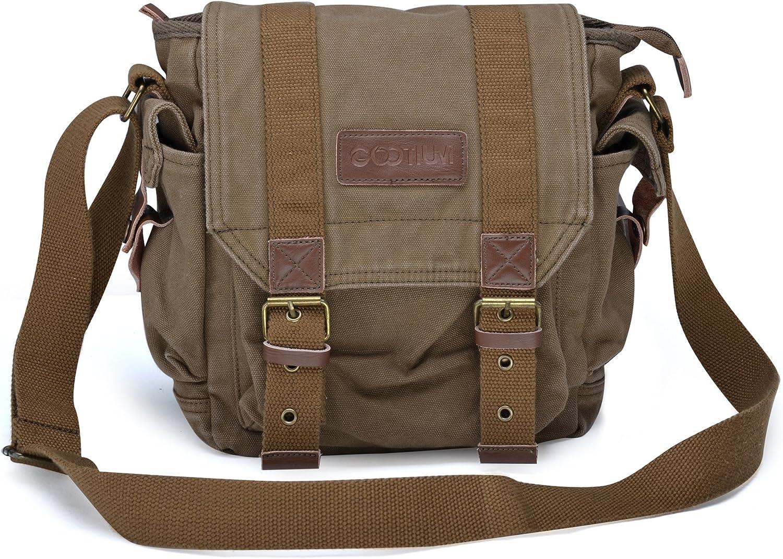 Color : Khaki Unisex Canvas with Leather Shoulder Bags Solid Color Men Briefcase Laptop Bag File Package Carry Bag Vacation