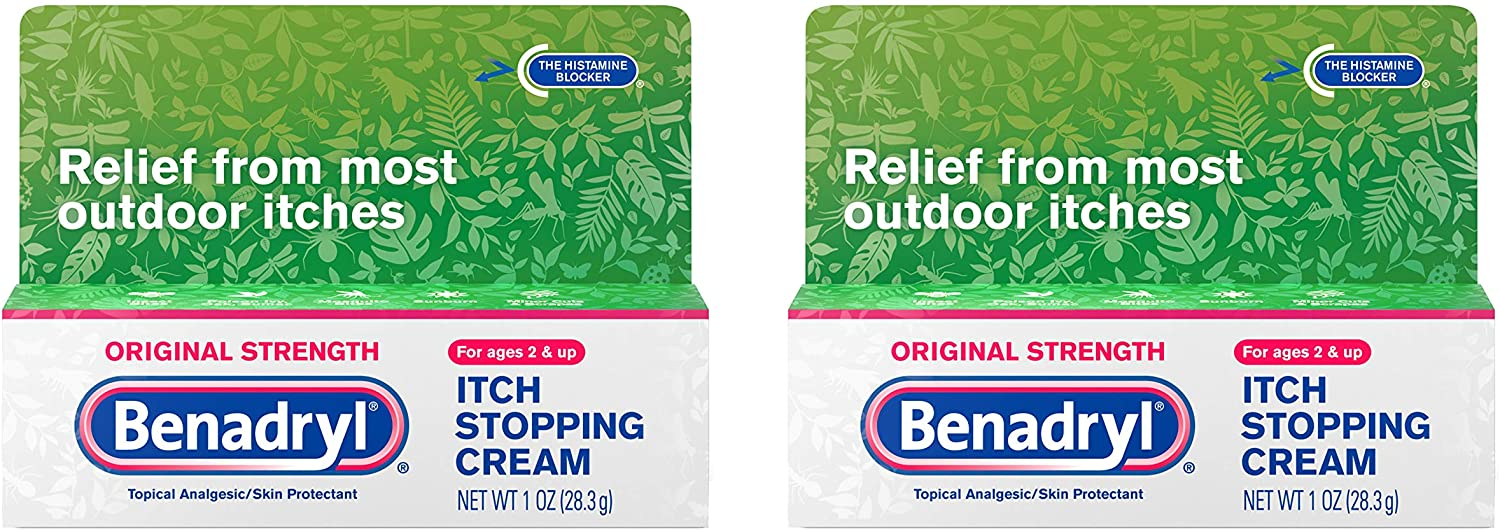 Benadryl Original Strength Anti-Itch Relief Cream for Most Outdoor Itches, Topical Analgesic, 1 oz (Pack of 2)