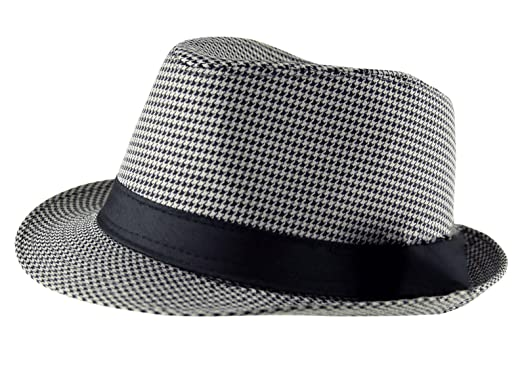 101422ef3fc Itzu Adult Unisex Houndstooth Dogtooth Trilby Fedora Hat Band in Grey