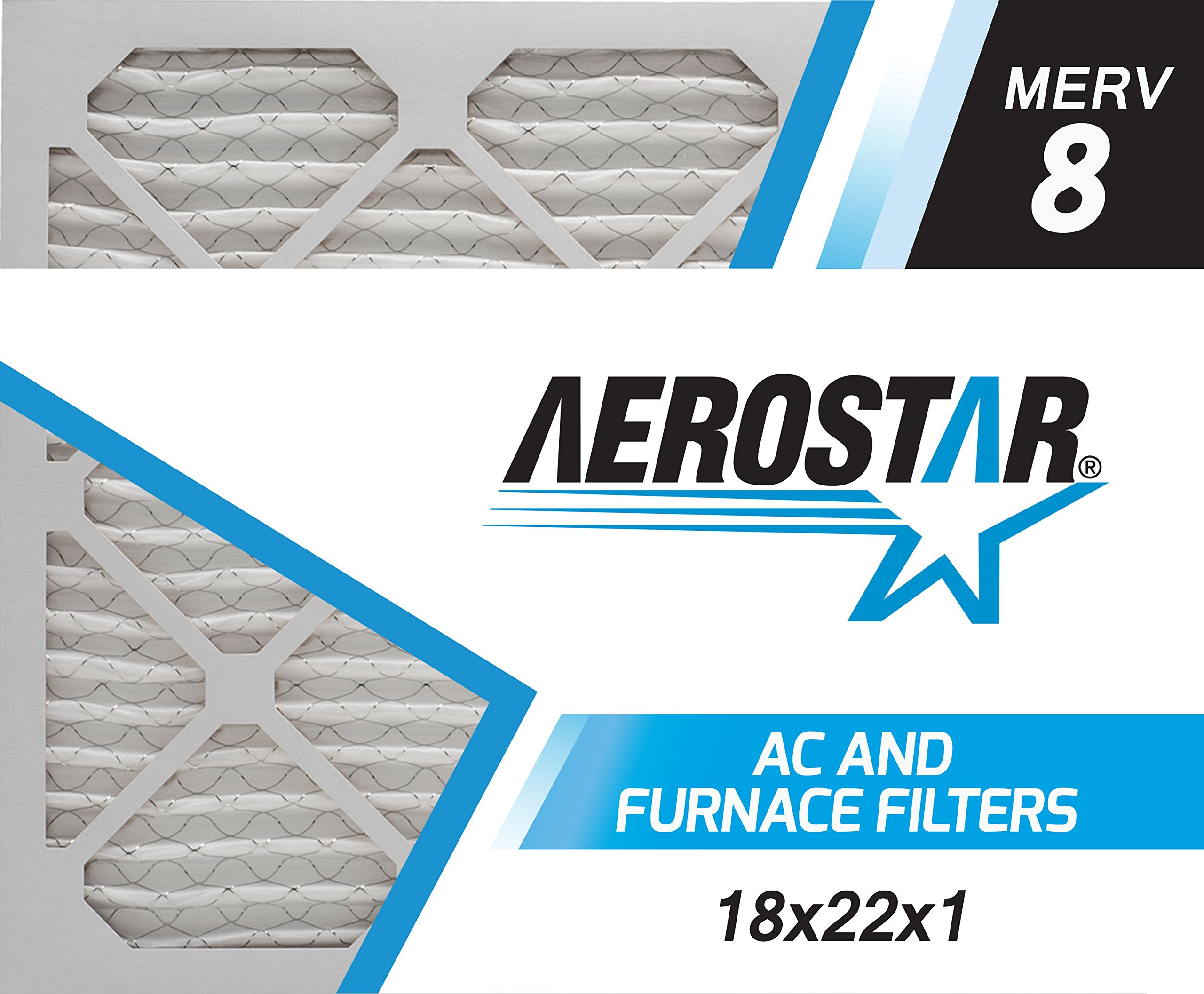 Aerostar 18x22x1 MERV 8, Pleated Air Filter, 18x22x1, Box of 4, Made in The USA