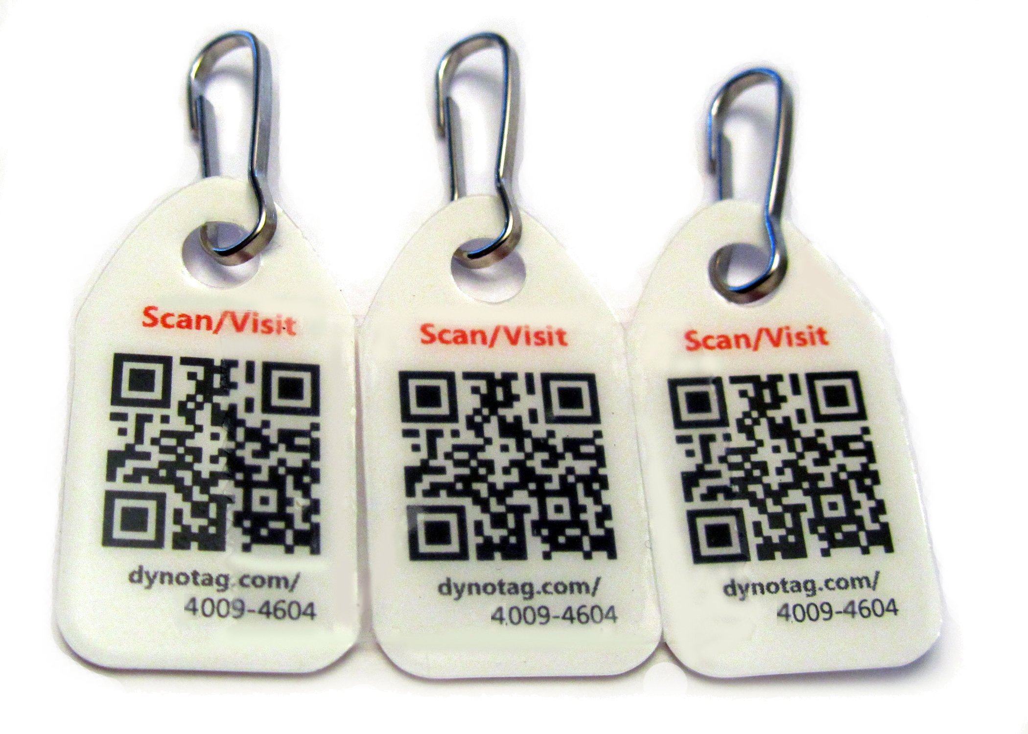 Dynotag Web Enabled Smart Micro Zipper Tags with DynoIQ & Lifetime Recovery Service. 3 Identical + SnapHooks