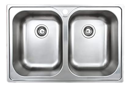 Wells Sinkware GLT3322-99LG 18-Gauge Double Bowl Top-Mount Kitchen ...