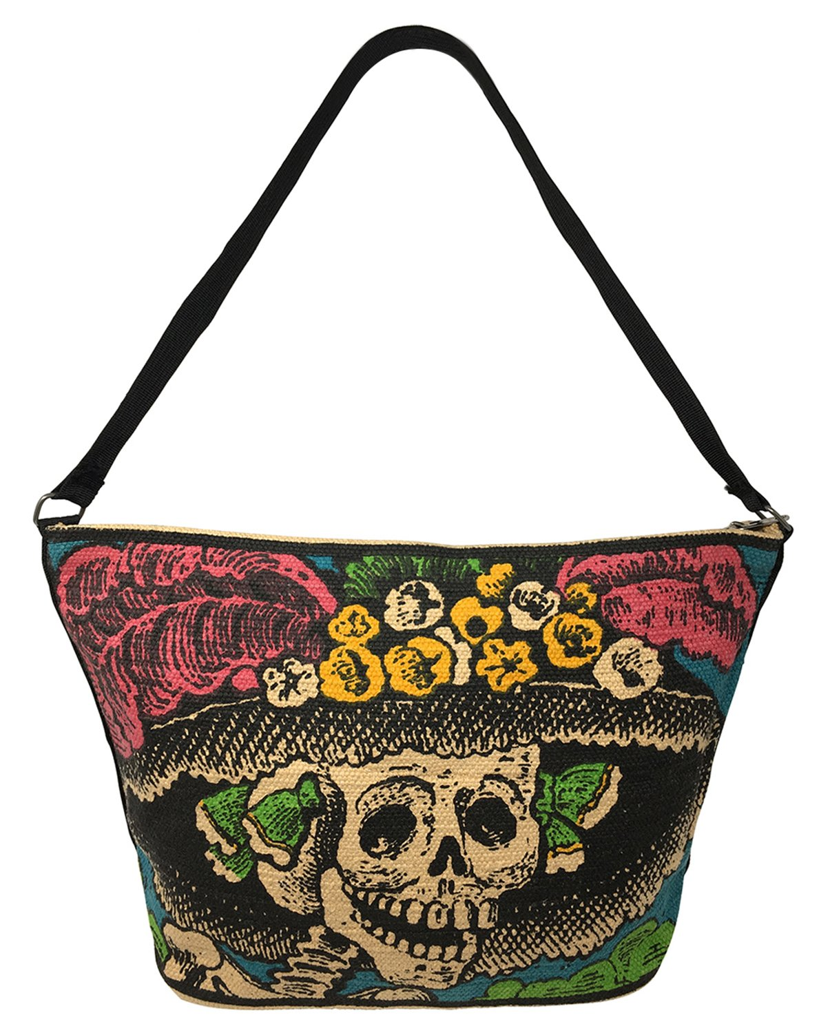 SpiritStar Sugar Skull Purse: Day of the Dead Inspired Daily Travel Bag Made with 100% Cotton (Catrina)