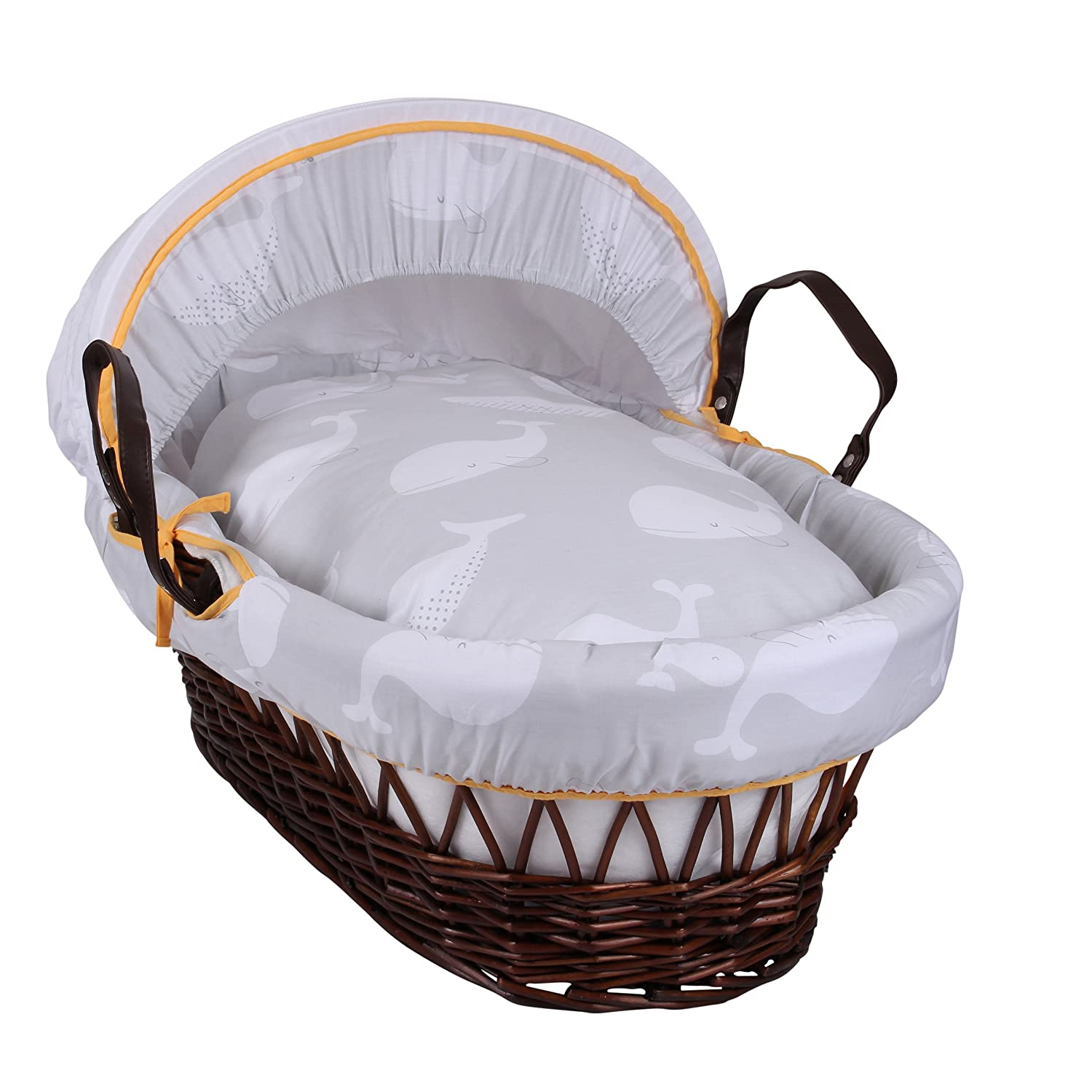 Clair de Lune Whales Dark Wicker Moses Basket inc. bedding, mattress & adjustable hood (Grey) CL5650D