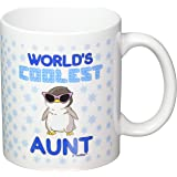 Mother's Day Gifts World's Coolest Aunt Penguin Gift Coffee Mug Tea Cup White