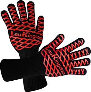 Oven Gloves, LauKingdom BBQ Gloves Heat Resistant, Food Grade Silicone Kitchen Grill Mitts, Cooking Gloves for Outdoor Barbecue Frying Baking Grilling Welding Fireplace, Long Cuff.