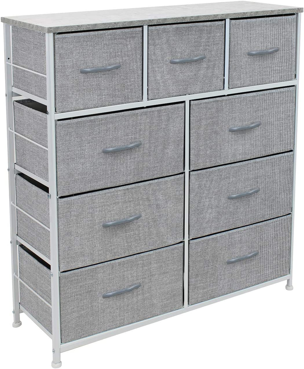 Sorbus Dresser with 9 Drawers - Furniture Storage Chest Tower Unit for Bedroom, Hallway, Closet, Office Organization - Steel Frame, Wood Top, Easy Pull Fabric Bins (Gray)