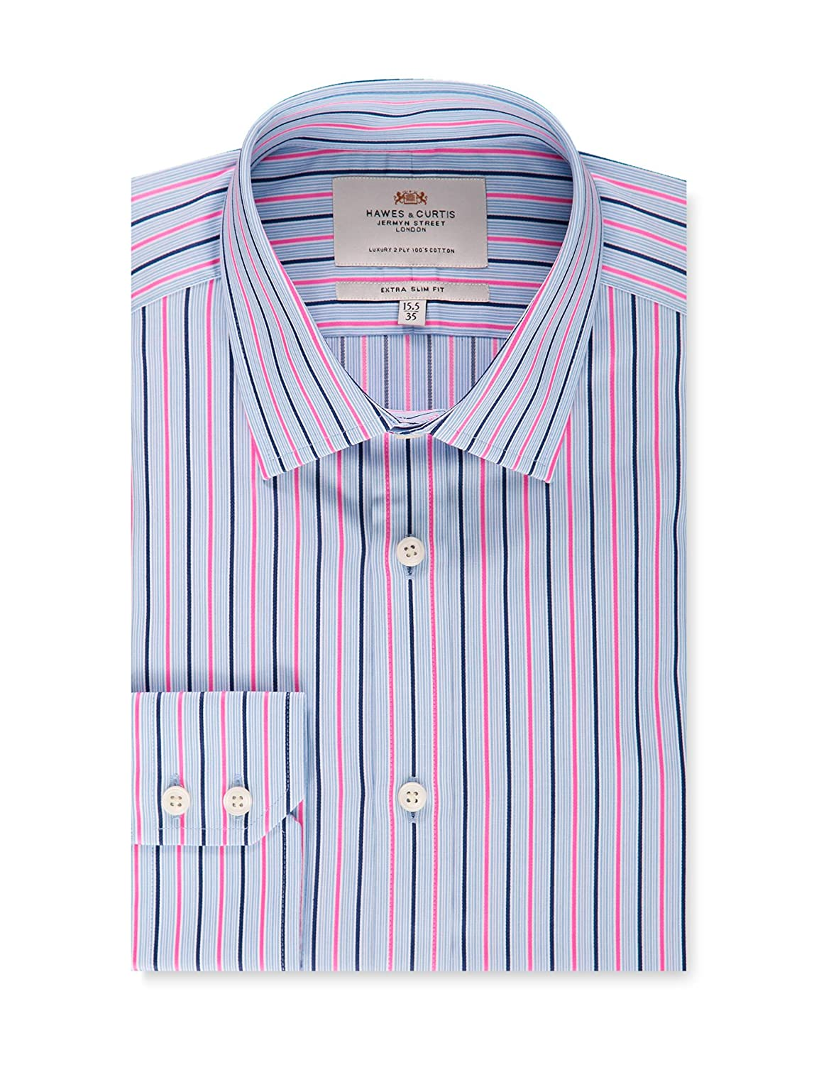 64e12bcbdd HAWES & CURTIS Mens Blue & Pink Multi Stripe Extra Slim Fit Dress Shirt - Single  Cuff - Easy Iron at Amazon Men's Clothing store: