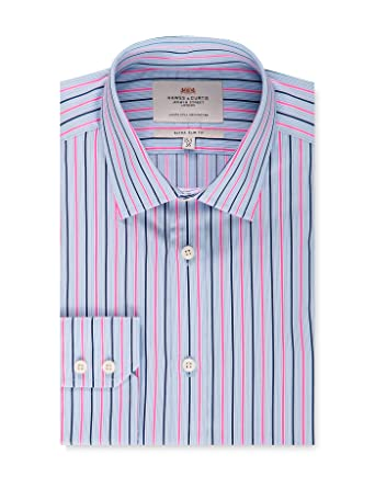 20d8950429 HAWES & CURTIS Mens Blue & Pink Multi Stripe Extra Slim Fit Dress Shirt -  Single Cuff - Easy Iron at Amazon Men's Clothing store: