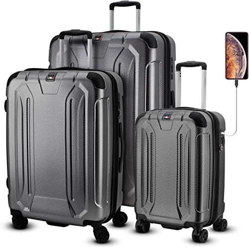 Villagio Hardside Luggage Set – 3-Piece Hardshell Luggage Sets with Spinner Wheels – Scratch-Resistant Polycarbonate Suitcase Set with TSA Lock – Hard Side Luggage for Travel with Splash-Proof Zippers
