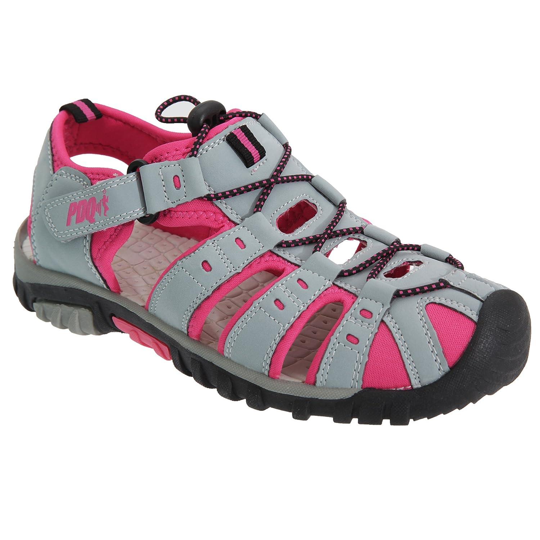 PDQ Damen Sport Sandalen mit Toggel und Klettverschluss (38 EU) (Schwarz/Pink) ry7U26w78