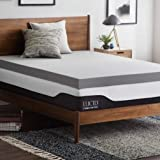 LUCID 4 Inch Bamboo Charcoal Memory Foam Mattress Topper - King