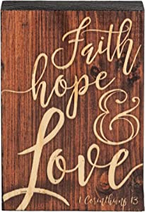 P. Graham Dunn Faith Hope Love Script Design Brown 5 x 3.5 Inch Solid Pine Wood Barnhouse Block Sign