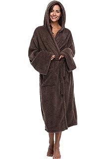 a19a34ab08 Vogue Bridal Unisex Soft Plush Coral Fleece Robe Plus Long Hooded Spa  Bathrobe