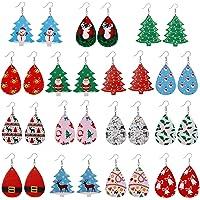 12/15/16 Pairs Faux Leather Teardrop Long Dangle Earrings for Women Pack- Lightweight Drop Earrings Gift For Teens Girls…