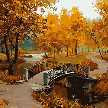 Pandada Diy Peinture A L Huile Pont Arbre Feuille Jaune Paysage D