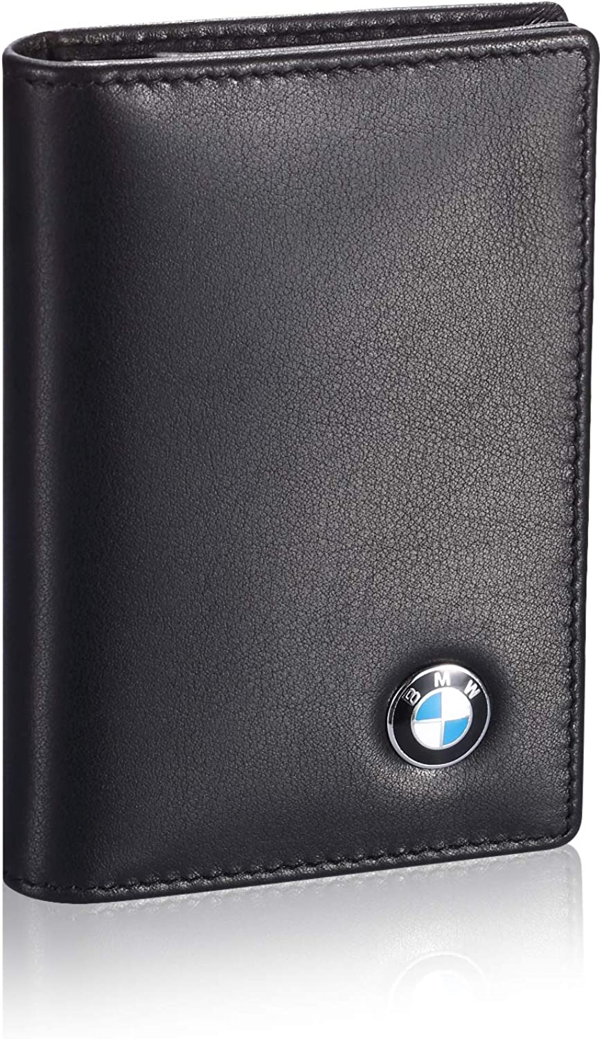 Tuoco BMW Business Card Holder with Large Compartment - Full Grain Leather, Black, Small