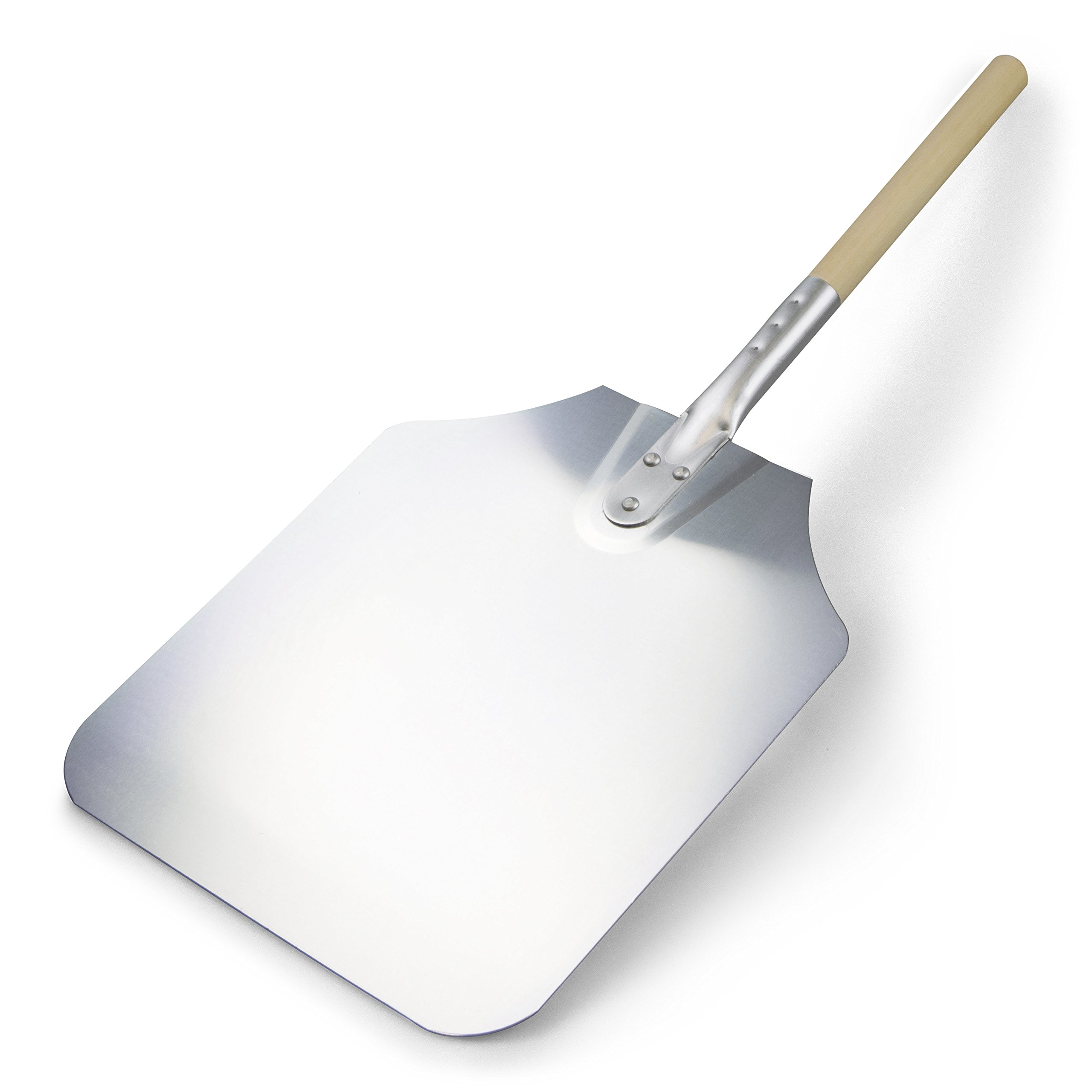 TrueCraftware Reinforced Aluminium Pizza Peel with Wooden Handle and Tapered Edges 12'' x 14'' x 26'' Inches Paddle for Baking Homemade Pizza and Bread