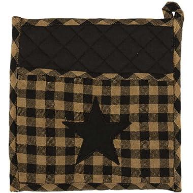 VHC Brands Classic Country Primitive Tabletop & Kitchen - Star Pot Holder, 9  x 9 , Black