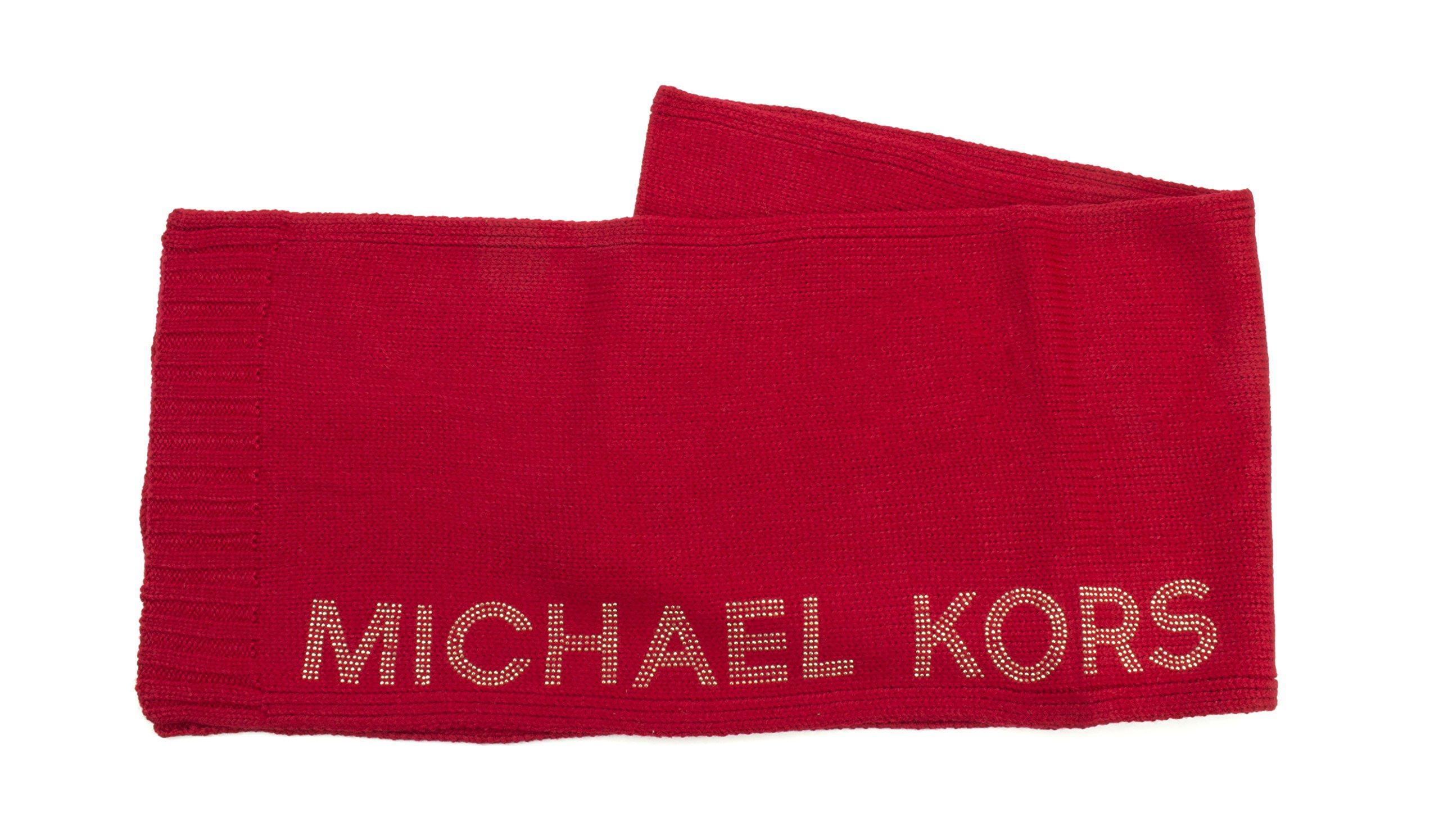 Michael Kors Heat Seal Studded Logo Scarf (Blaze red/Gold)