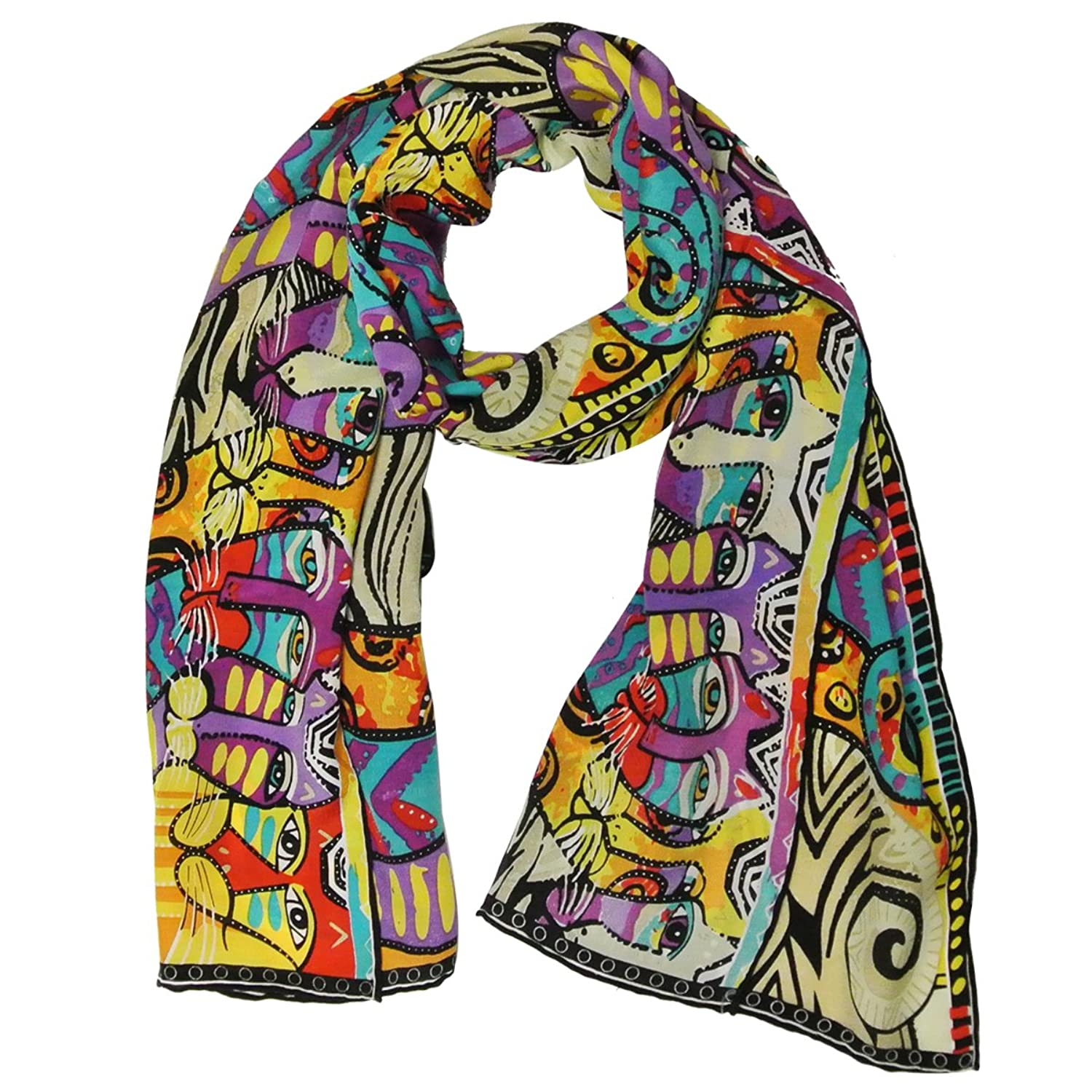 Allydrew Luxurious 100% Charmeuse Silk Long Scarf with Hand Rolled Edges, Family Pride