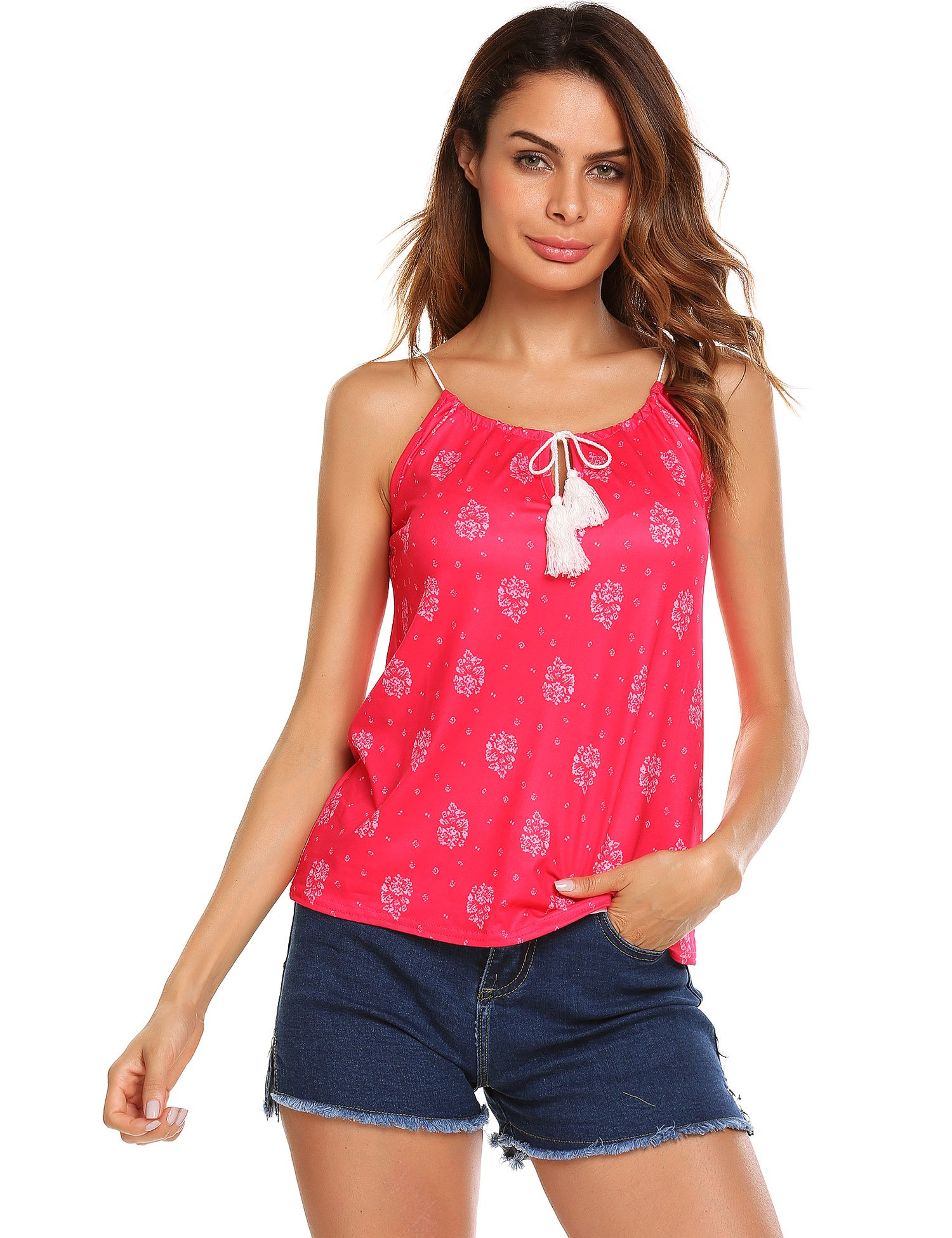 EASTHER Sleeveless Tops Wear Camisole Vest Spaghetti Strap Tank(PAT5,XX-Large)