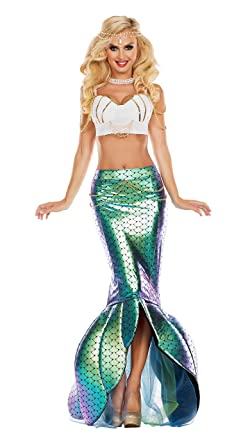 692379297ed6 Party King Women's Under The Sea Mermaid Costume, Turquoise/White Small