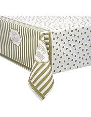 "Golden Birthday Plastic Tablecloth, 84"" x 54"""
