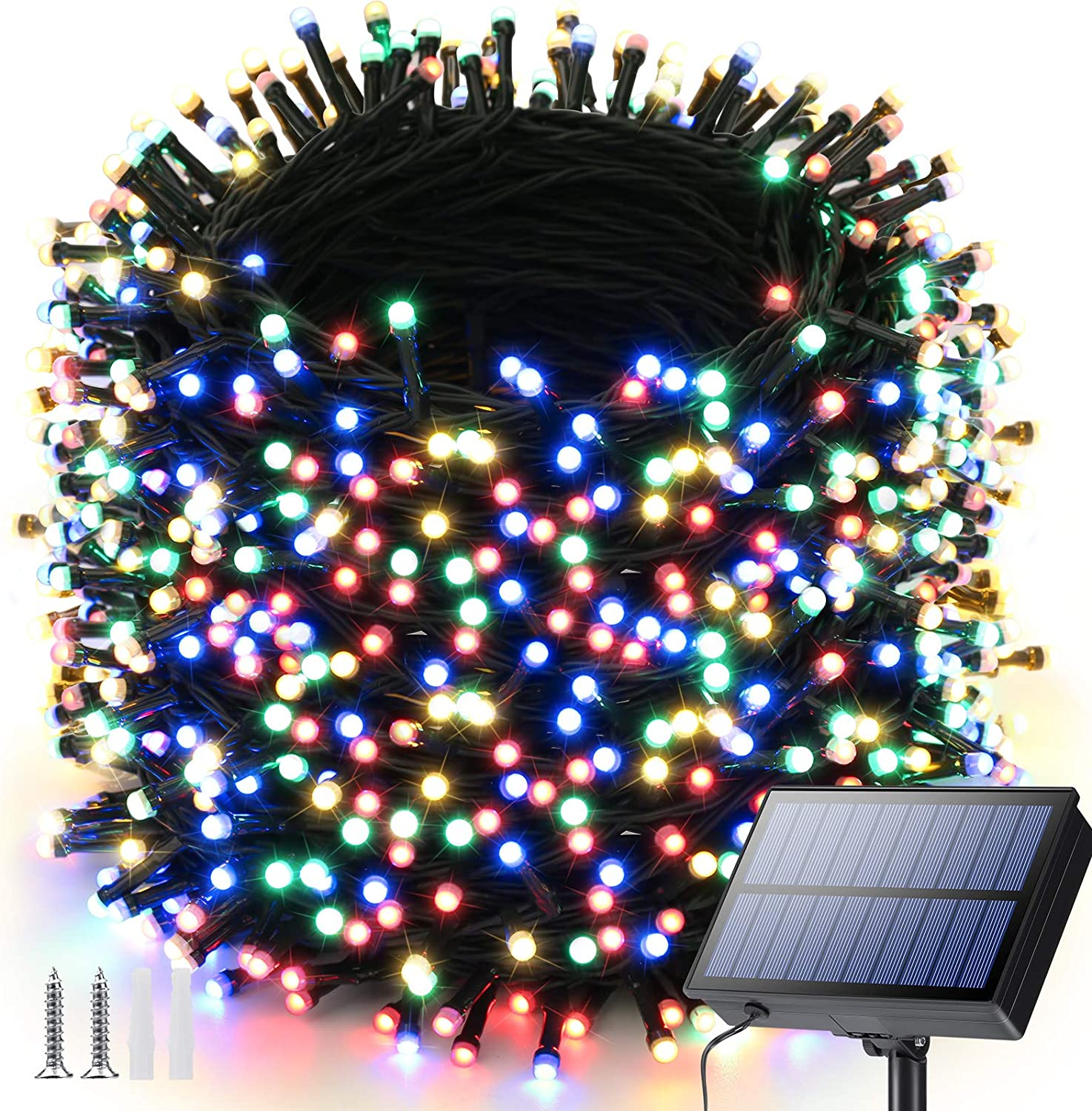 Solar String Lights Outdoor, 121ft 350 LED Solar Fairy Lights Outdoor with 8 Modes, Waterproof Outdoor String Lights for Garden, Yard, Party, Patio, Bedroom, Wedding, Holiday Decorations(Multicolor)