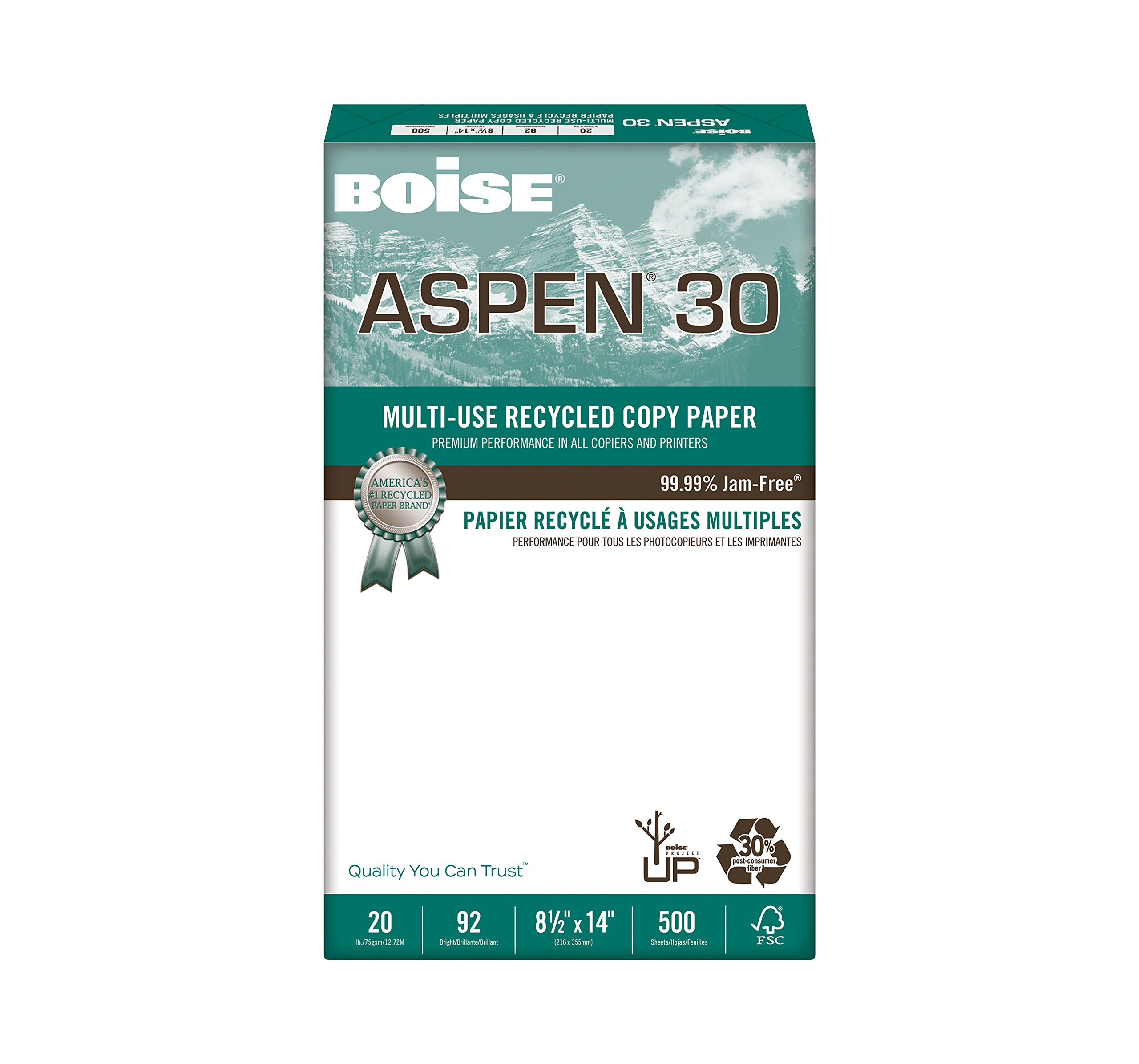 BOISE ASPEN 30% Recycled Multi-Use Copy Paper, 8.5'' x 14'', Legal, 92 Bright, 20 lb, 10 Ream Carton (5,000 Sheets) by Boise Paper (Image #3)