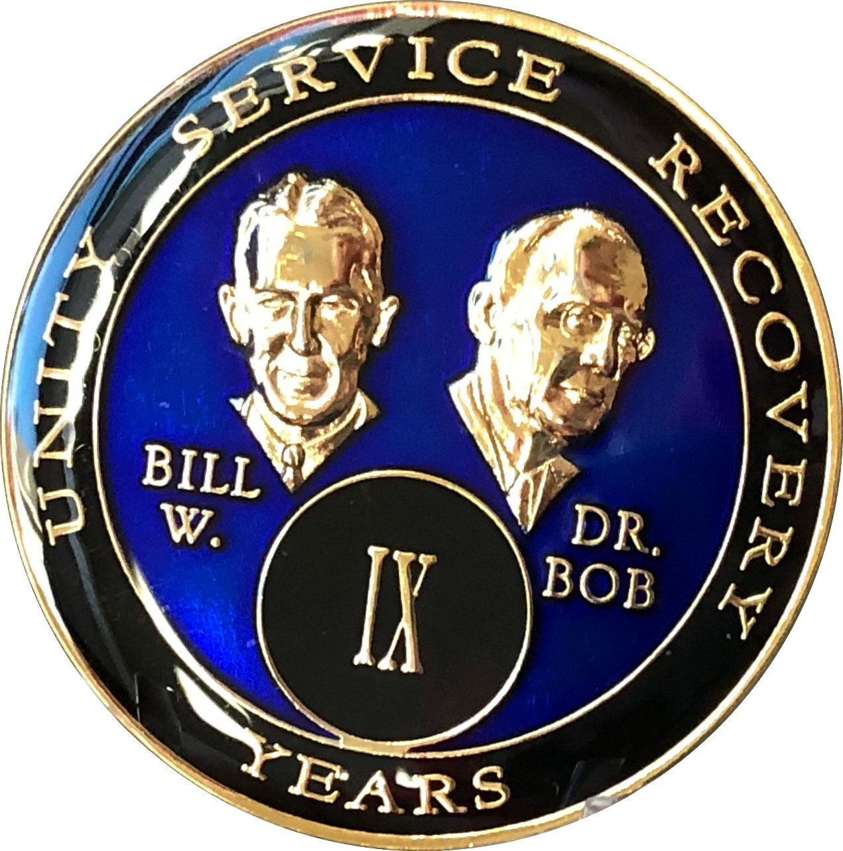 9 Year Founders Blue Tri-Plate AA Medallion Bill & Bob Chip IX