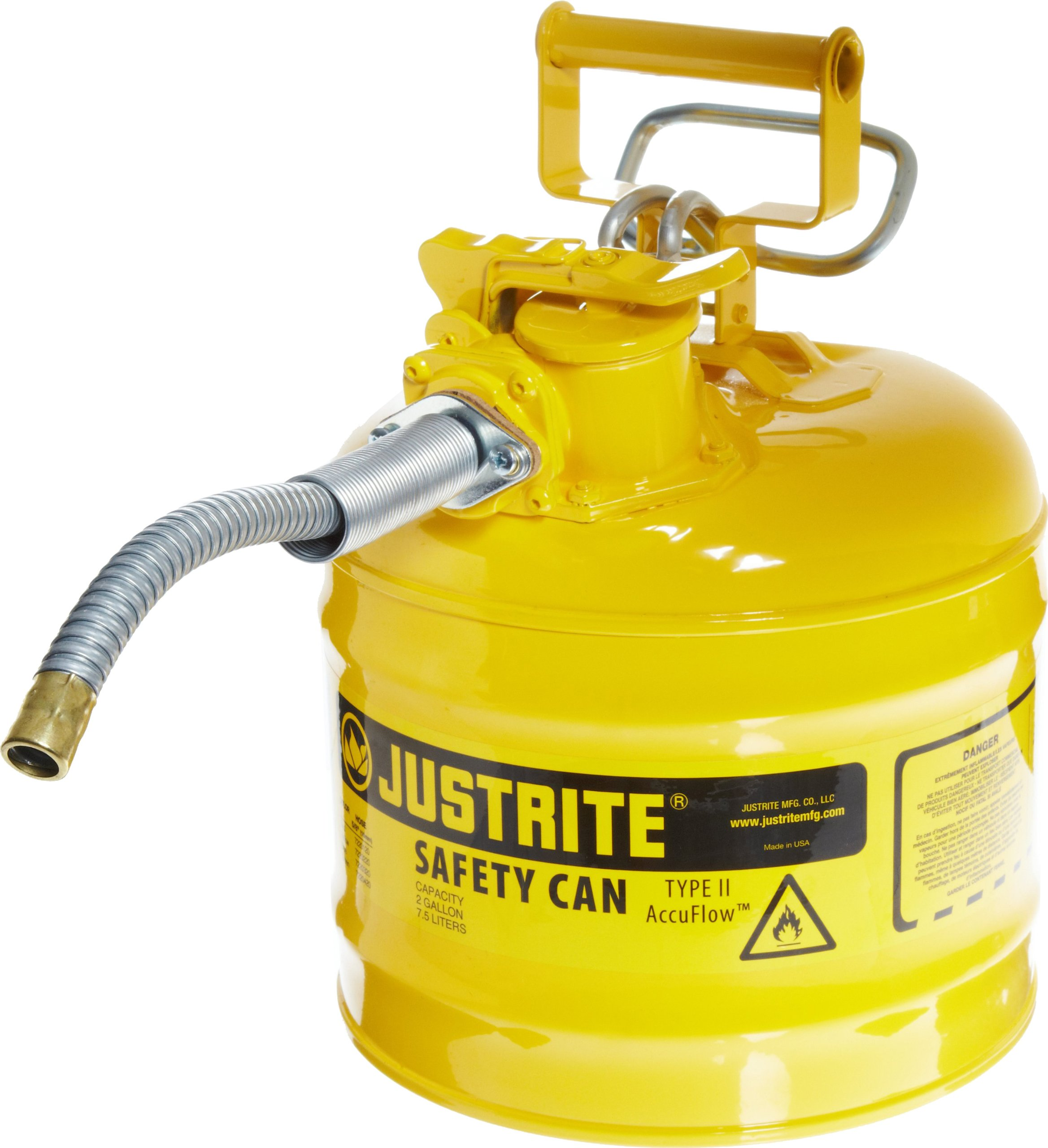 Justrite 7220220 AccuFlow 2 Gallon, .3 Size, 9.50'' OD x 13.25'' H Galvanized Steel Type II Yellow Safety Can With 5/8'' Flexible Spout