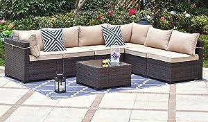 Gotland Outdoor Patio Furniture Set 7 Pieces Sectional Rattan Sofa