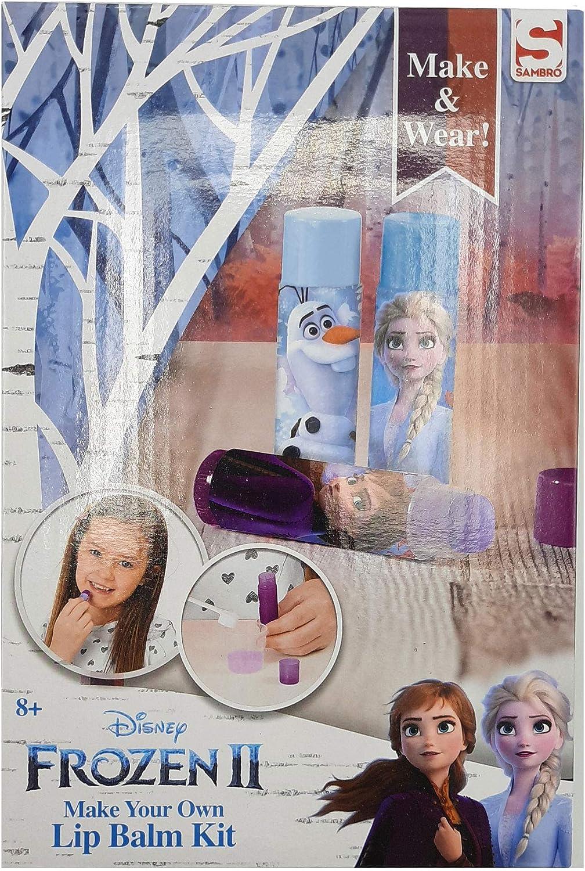 Disney Frozen 2 Set de Maquillaje CREA Tus Pintalabios con Princesas Anna y Elsa, Incluye Barras Labiales de Sabores, Kit Pintalabios Niña Manualidades, Regalos Frozen para Niñas