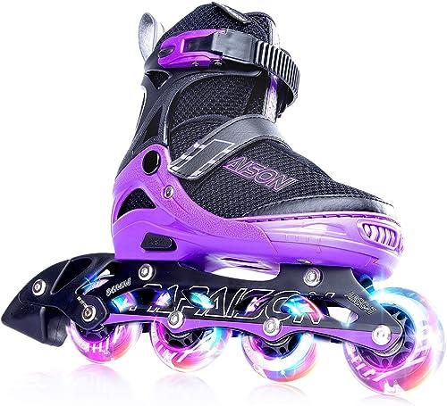 Papaison Adjustable Inline Skates or Kids black with purple