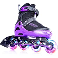 PAPAISON Adjustable Inline Skates for Kids and Adults with Full Light Up LED Wheels, Outdoor Blades Roller Skates for Girls and Boys, Men and Women