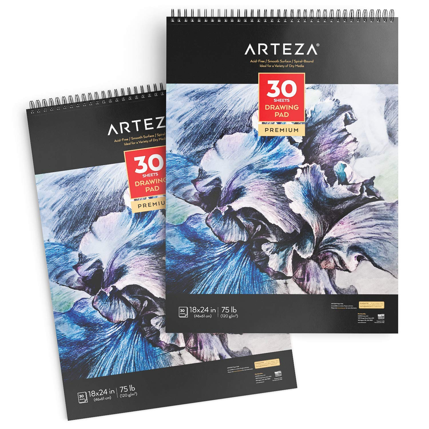 """ARTEZA 18X24"""" Drawing Pad, Pack of 2, 60 Sheets (75 lb/120gsm), 30 Sheets Each, Spiral bound, Heavyweight Paper with Micro-Perforation, Perfect for Graphite & Colored Pencils, Chalk, Charcoal, Gel Pen"""
