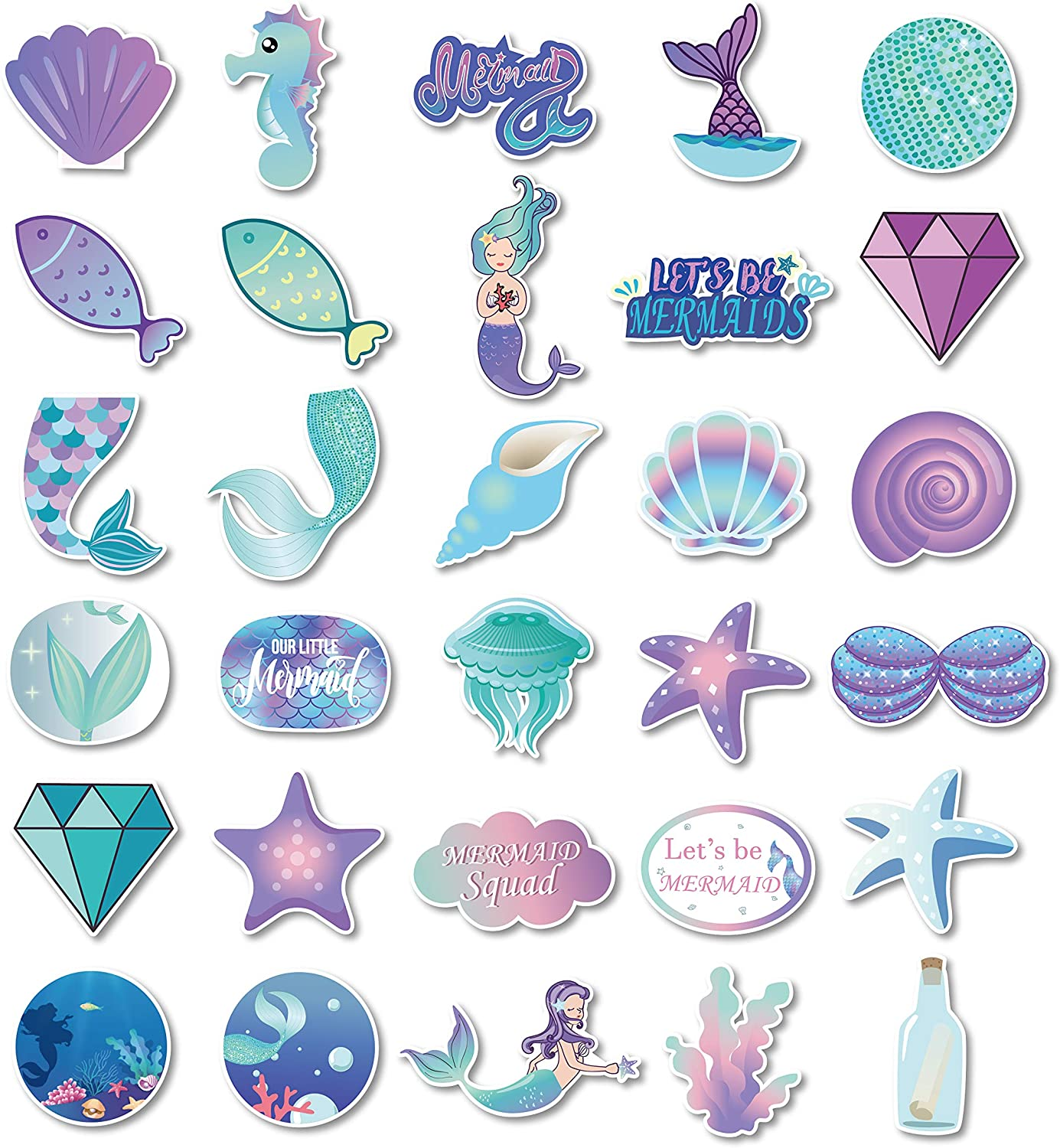 Mermaid Luggage Stickers(30pcs),Mermaid Notebooks Stationery Stickers,Mermaid Laptop Stickers,Mermaid Skateboard Stickers,Mermaid PVC Waterproof Stickers for Kids,Adults,Cars,Motorcycles,Bicycles