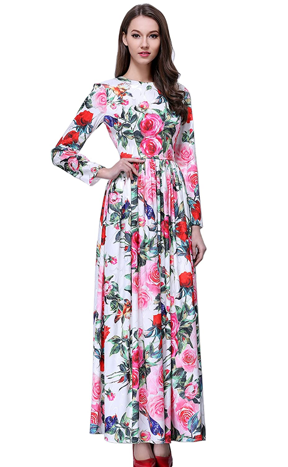Merope J Womens Maxi Floral Bohemian Long Sleeves Summer Beach Dress