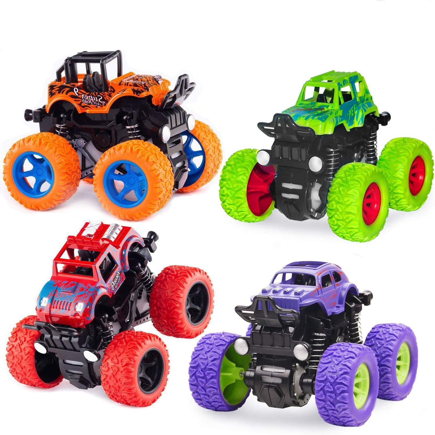 Amazon Com Monster Truck Toys Friction Powered Toy Cars Push And Go Vehicles For Kids Best Christmas Birthday Party Gift For Boys Girls Aged 3 And Above 4 Pack Toys Games