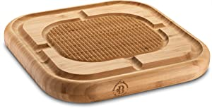 Bambusi Bamboo Butcher Block Cutting Board - Chopping Block for Carving Turkey - Reversible 13 x 13 x 1.5 Inch Wood Serving Tray with Juice Groove and Spikes, Stabilizes Meat While Carving