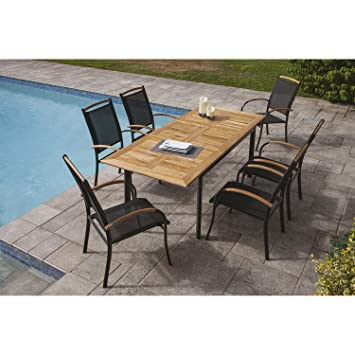 Ozalide- Gartenmöbel, Teak sidari – 6 Sitzer – Tisch ausziehbar ...