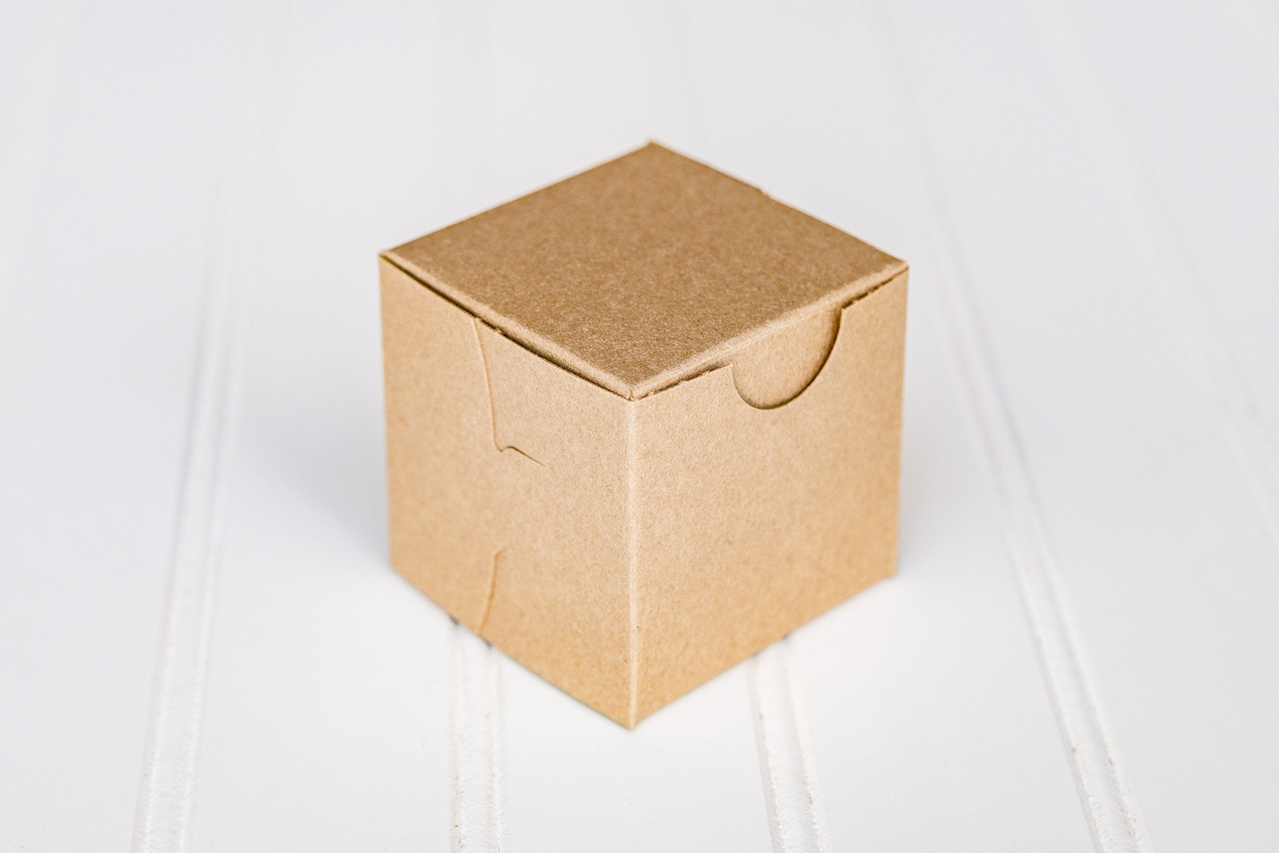 12 Kraft Brown Mini Cupcake Boxes Without Window 2.5 x 2.5 x 2.5 Inches