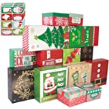 14 Decorative Christmas Gift Boxes with Lids and 80-Count Foil Christmas Gift Tag Stickers (Assorted size,6 Rectangle,4 Squar