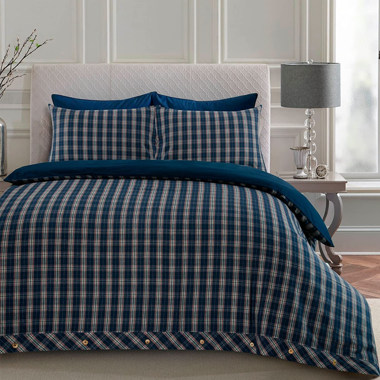 Blue Singolo 100/% cotone Set copripiumino in flanella Nimsay Home Highland
